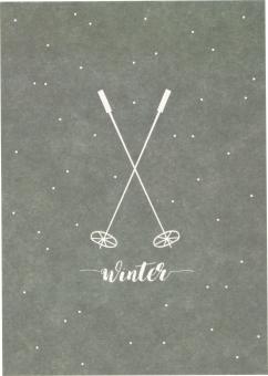 Postkarte Skistöcke blaugrau von Ava&Yves