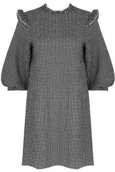 Seersucker Kleid Vichy Schwarz