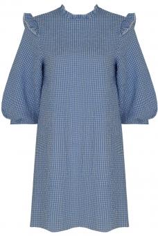 Seersucker Kleid Vichy Blau