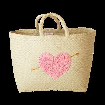Medium Raffia Einkaufstasche Herz Rosa