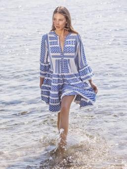 Ella Dress Blue /Off White von Devotion