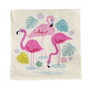 Cocktail-Servietten Flamingo Bay ( 20er Packung)