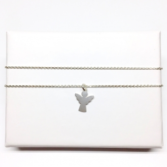 Halskette kurz Schutzengel Silber