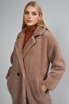 Mantel Beige aus Kunstpelz