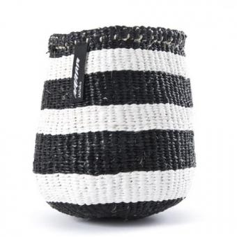 Kiondo Korb von Mifuko XS Breite Streifen schwarz/weiß
