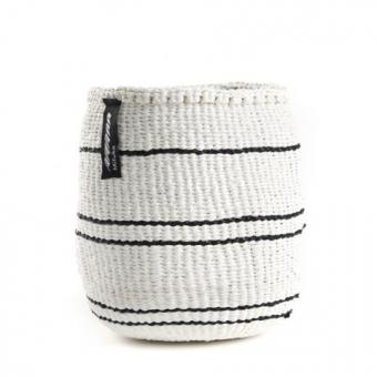 Kiondo Korb von Mifuko XS Steifen weiß/schwarz