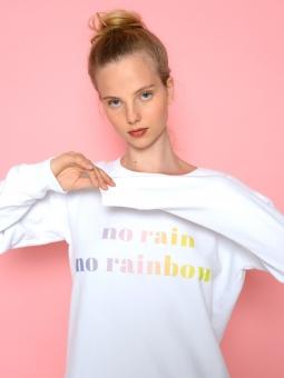 """Sweater """"No Rain no Rainbow"""" white"""