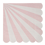 Servietten mit Streifen rosa von Meri Meri